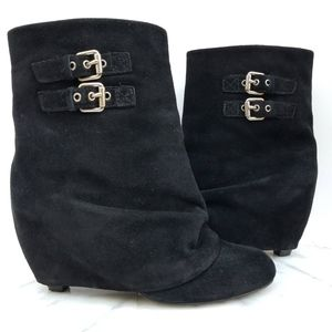 Bp. Black Black Suede Ankle Boot Fold Over Booties